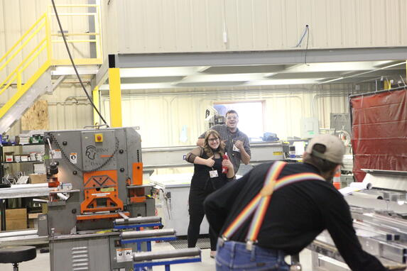 Spika employees have fun in the shop