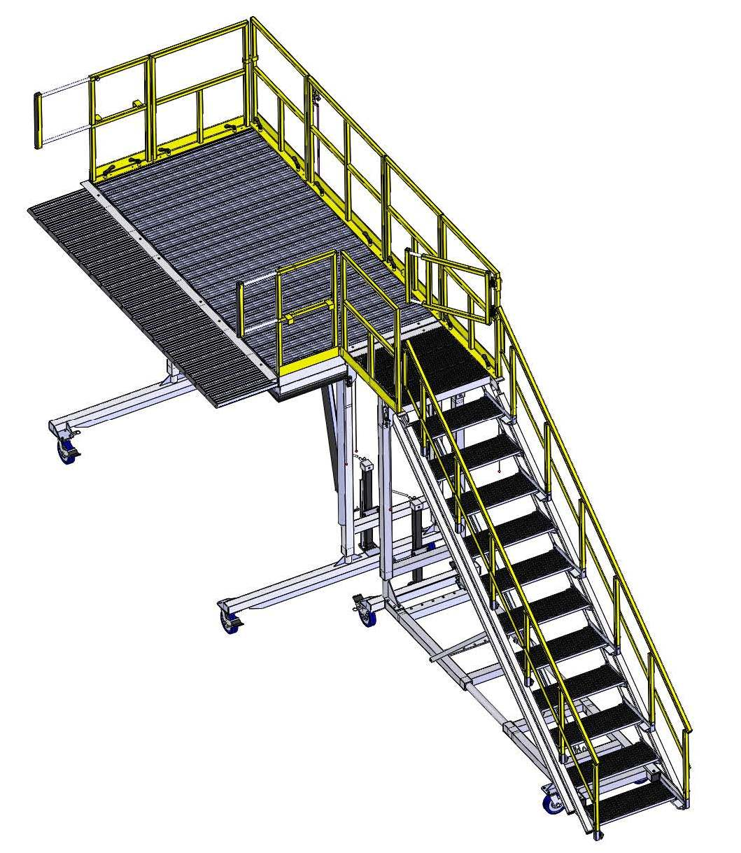 Work Platform with Staircase and Swing Gate