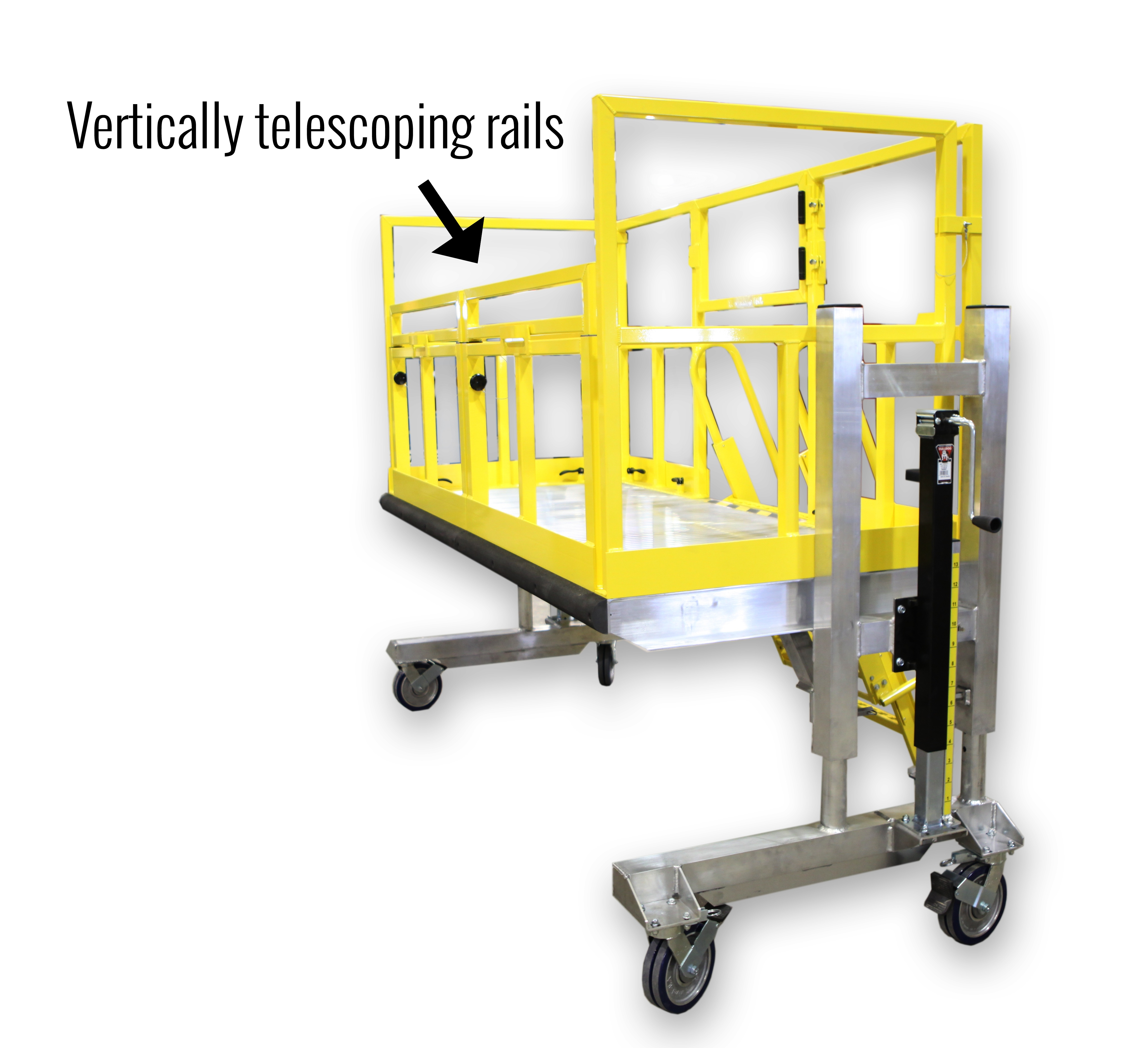 Telescopic rails for helicopter maintenance stand
