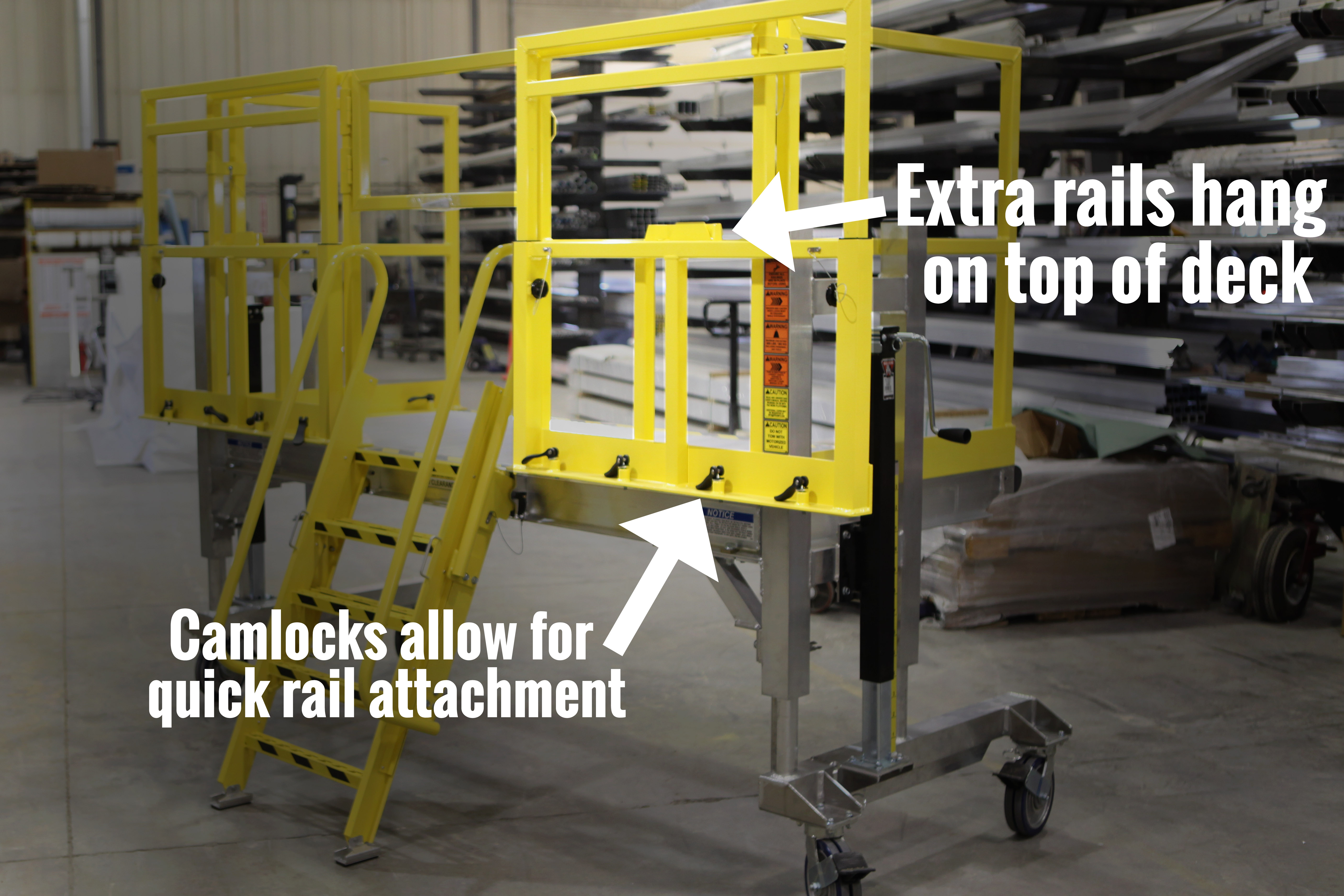 Spika helicopter aircraft maintenance stand with tool-free camlock attachment and options for hanging rails